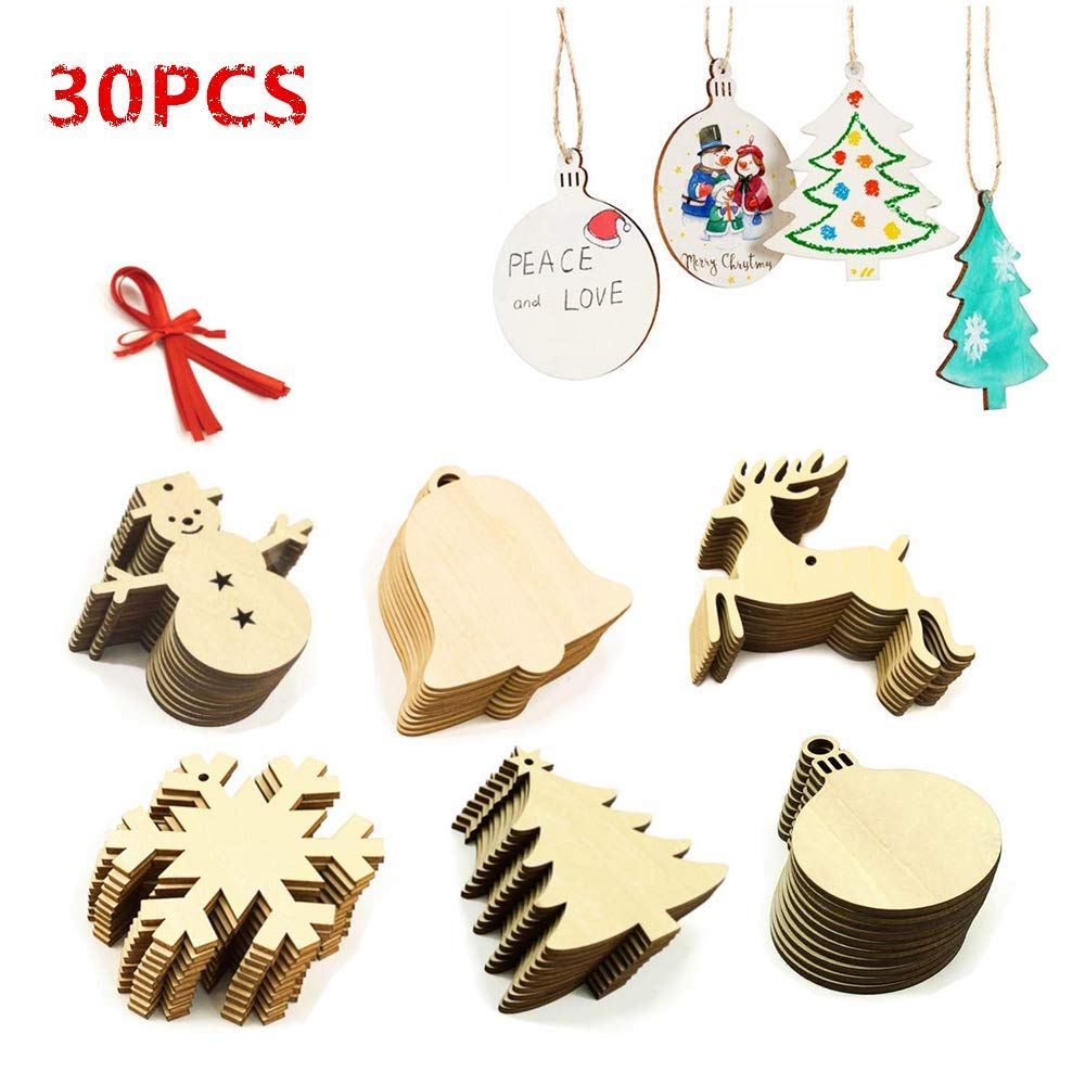 LEWOTE Christmas Wooden Ornaments 30Pcs[Unfinished], Christmas Tree Hanging Embellishments Decoration DIY Souvenir Gift for Kids ALchen
