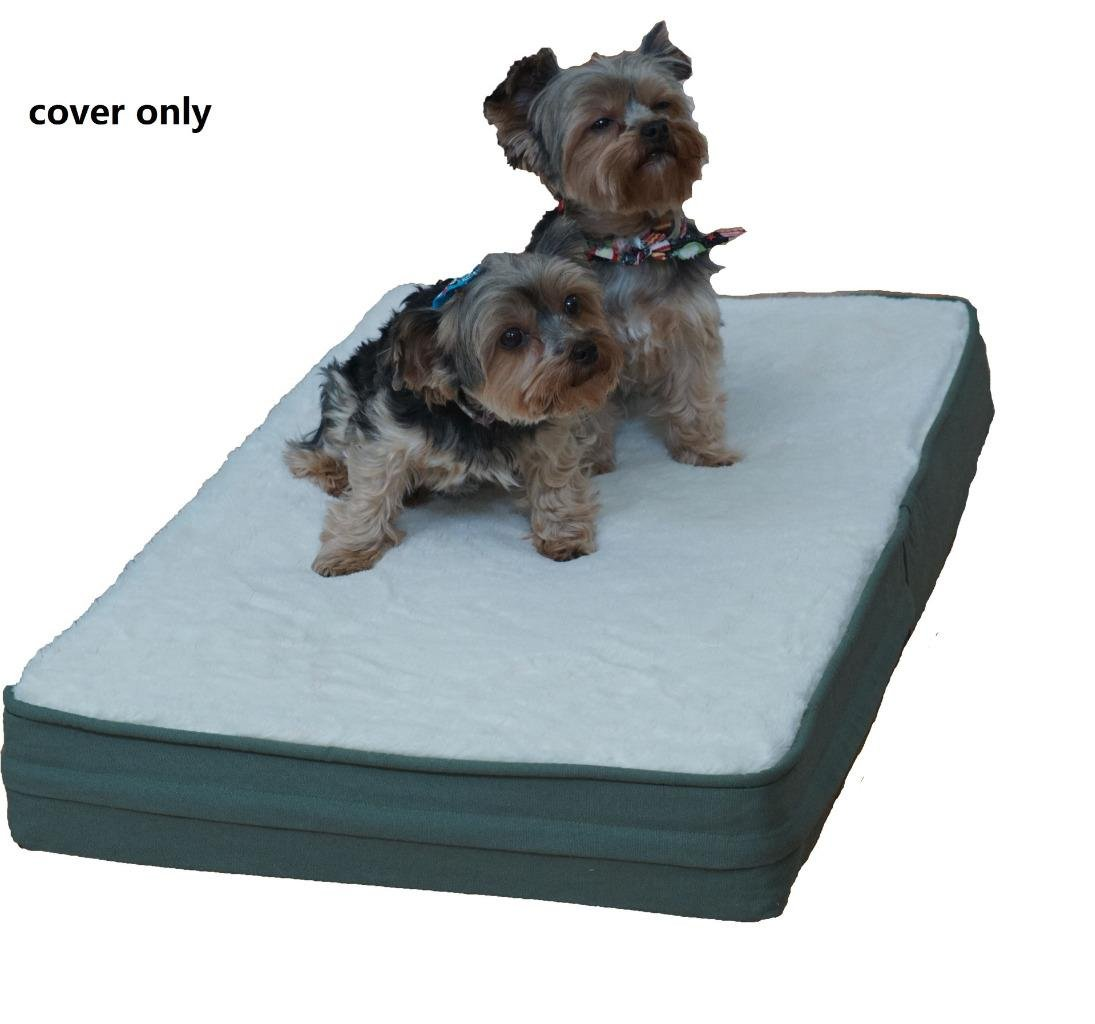 Cream Super Soft Fleece Plush Top with Green Canvas four sides 25\ Cream Super Soft Fleece Plush Top with Green Canvas four sides 25\ PetBed4Less DIY Durable Dog Bed Dog Pillow Pet Bed External Removable Case Small, Medium to Super Large 8 Sizes Replaceme