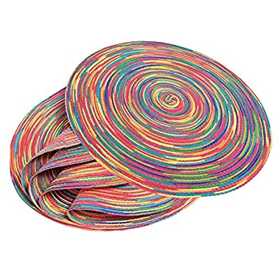 Braided Colorful Round Place mats Kitchen Dining Table Runner Heat Insulation Non-Slip Washable Set of 6 - 6 HIGH-QUALITY PLACE MATS - Your purchase includes 6 pcs round top quality woven braided placemats. They look elegant and can be used at home or in patio. Try it RISK-FREE now with our Money Back Guarantee. PROTECTS YOUR TABLE - These Place Mats protects your tabletop from hot plate marks, scratches and spill stain from food or drinking glasses. They are round and 15-inch total, large enough for any plate or bowl. ELEGANT DESIGNED - Our Place Mats are colorful and fit almost any kitchen or dining room decoration. Great for everyday use inside or outside. They are super easy to store, simply roll them and place them where you want too. - placemats, kitchen-dining-room-table-linens, kitchen-dining-room - 61Juy7QWx6L. SS400  -