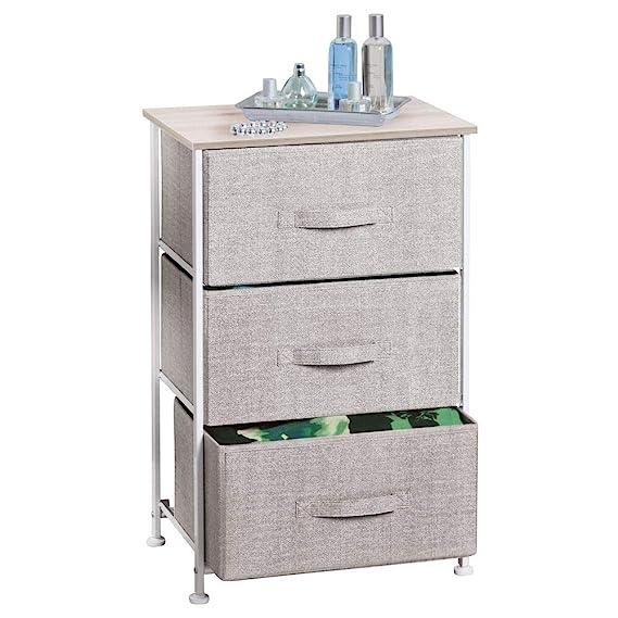 mDesign Comoda con 3 cajones - Organizador de armarios y vestidores en tela - Cajoneras para armarios, para el dormitorio o el cuarto de los niños - ...