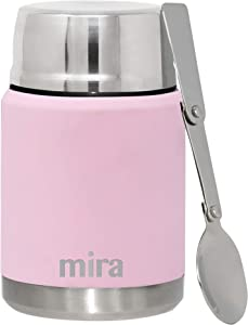 MIRA Lunch, Food Jar | Vacuum Insulated Stainless Steel Lunch Thermos with Portable Folding Spoon | 17 oz (500 ml) | Pink