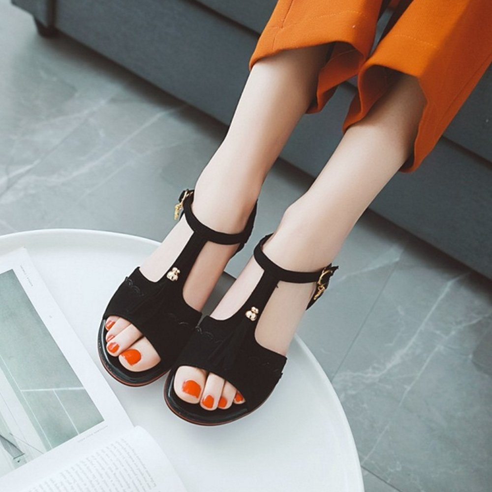 SJJH Sandals Casual Sandals SJJH with Low Heel and Suede Materail Women Sandals with Large Size Available B07DW2KRWX 45 EU = 11.5 US|Black 6ab05a
