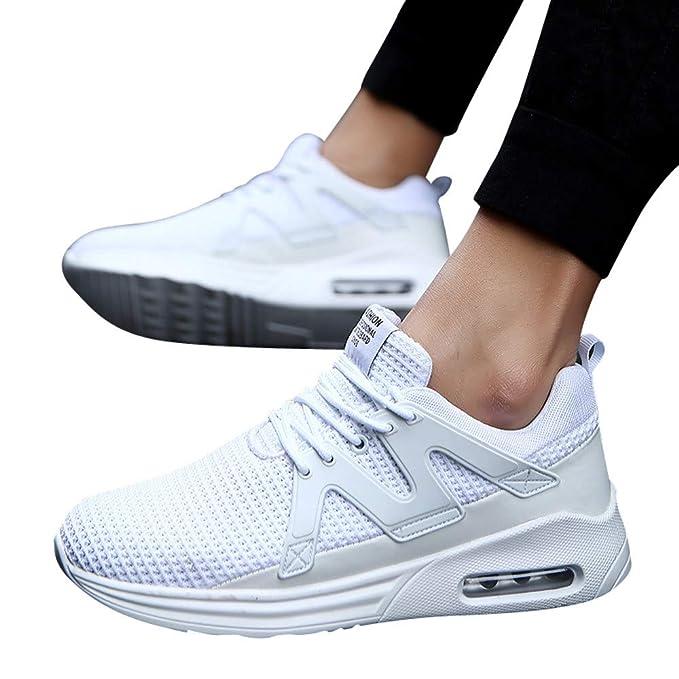 e59cc38576bed JiaMeng Zapatos para Correr En Montaña Asfalto Deportes Zapatillas Zapatos  de Malla al Aire Libre de Encaje Informal hasta Soles cómodos Zapatillas ...