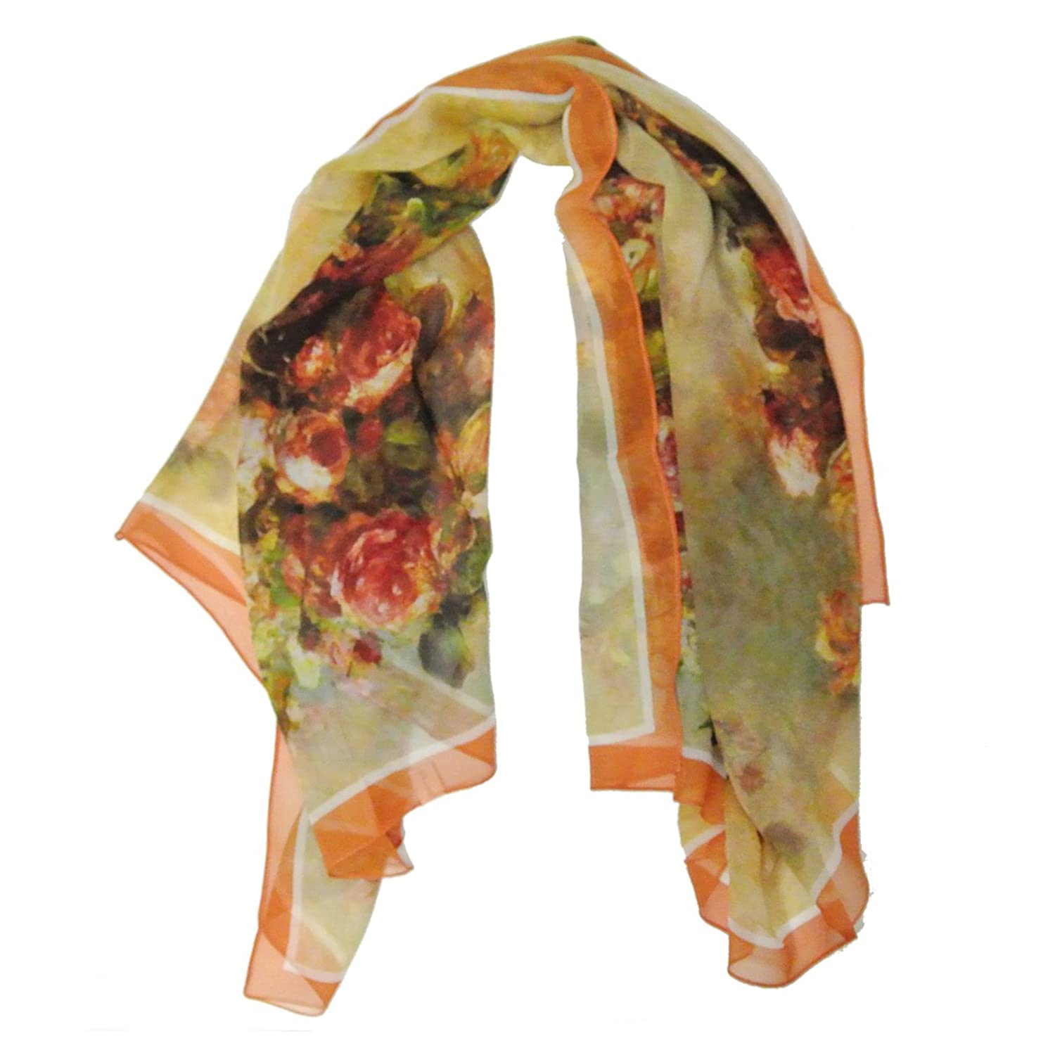 Allydrew 100% Mulberry Silk Floral Painting Square Scarf, Red Roses on Orange