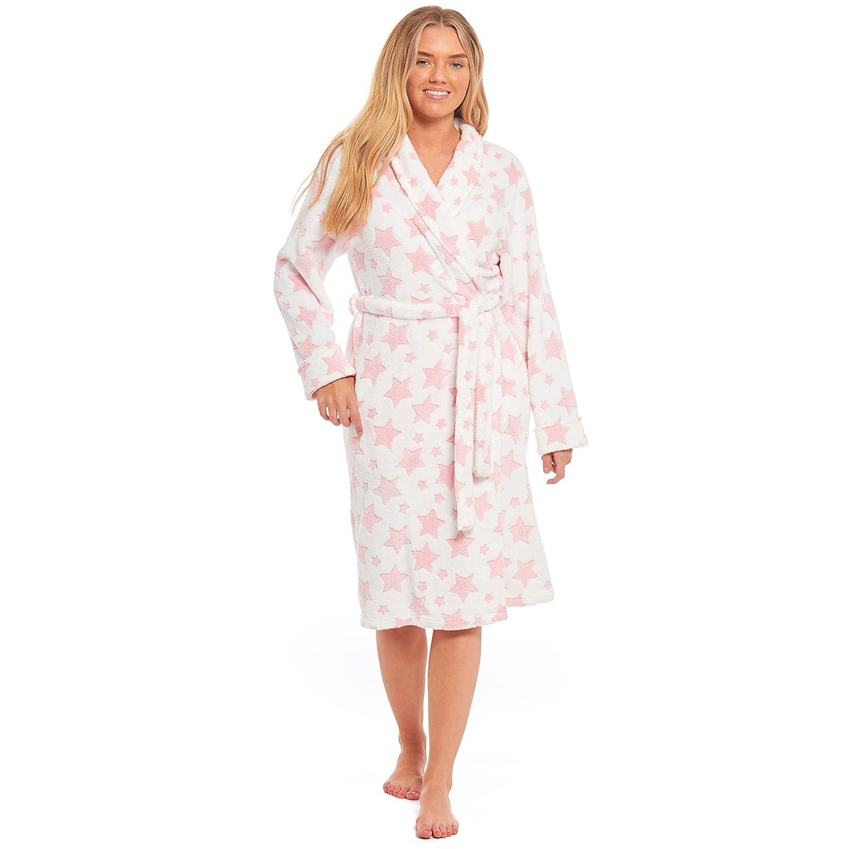 59ef6729b7 MyShoeStore Ladies Coral Polar Fleece Stars Print Dressing Gown Womens  Shawl Neck Bathrobe Warm Wrap Lounge Wear Nightwear Sleepwear Housecoat  Bath Robe ...