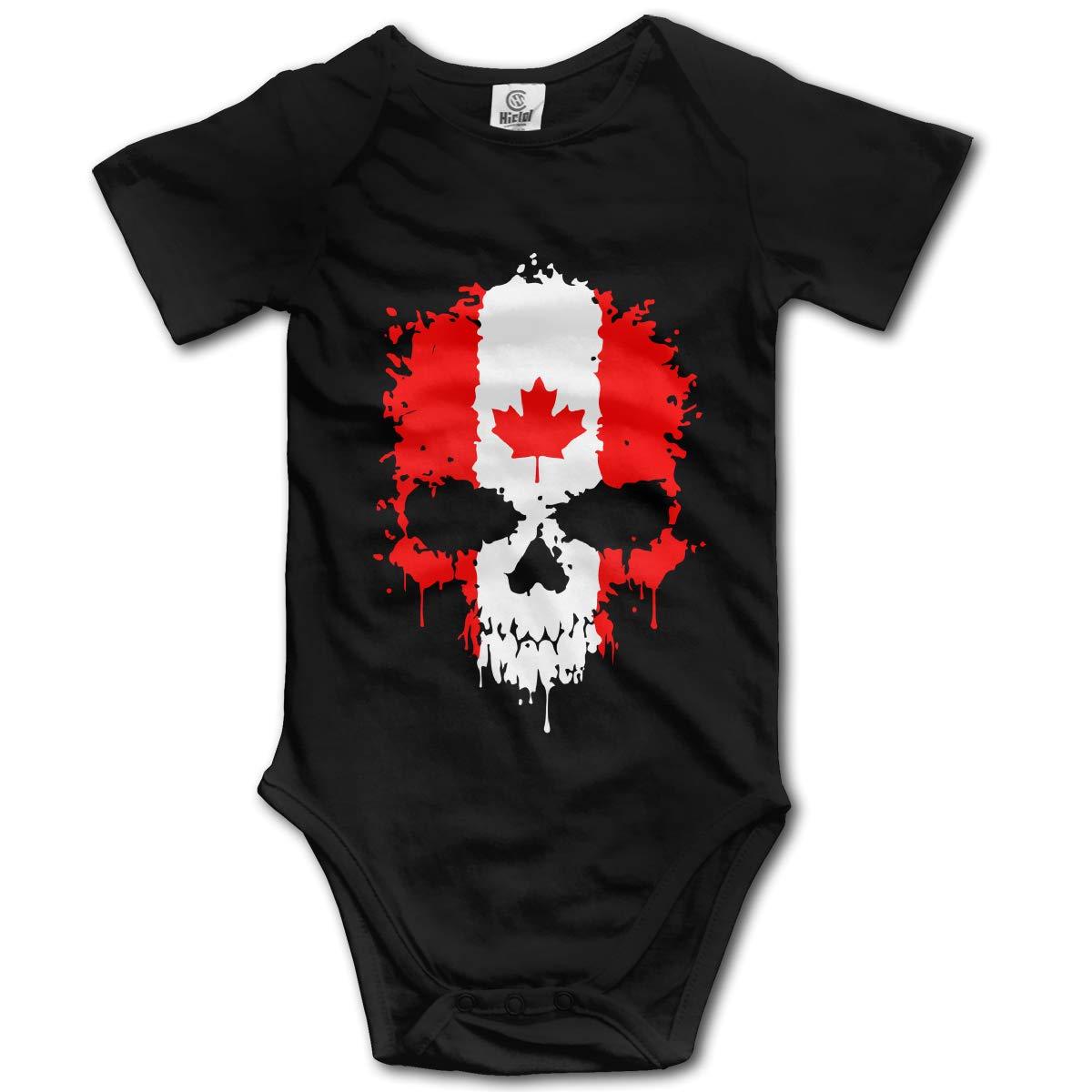 Canadian Flag Skull Kids Girl Boy Short Sleeve Romper Bodysuit Tops 0-24M
