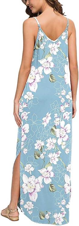 ORANDESIGNE Donna Boho Vestito Spiaggia Abiti Lunghi Donna Eleganti Senza Maniche Vestito Floreale con Scollo a V