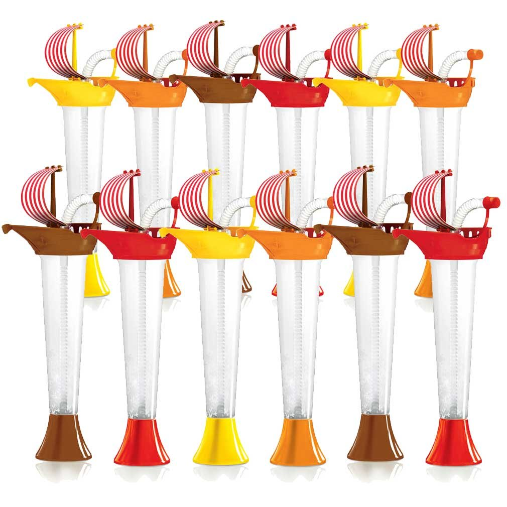 Pirate Ship Cups Kids Party 12-PACK - for Cold or Frozen Drinks, Kids Parties - First it's a Cup, then it's a Toy - 9 oz. (250 ml) - set of 12 Yard Cups in assorted colors and Sail designs