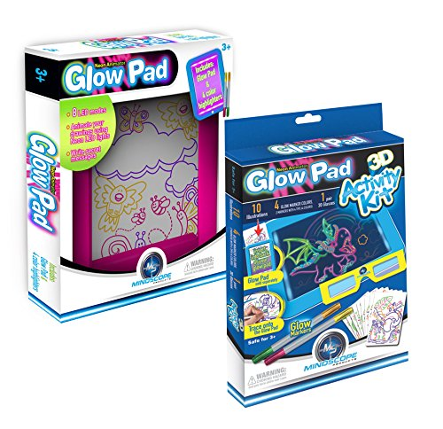 Mindscope Light Up LED GLOW PAD Writing Pad PINK with 3D Activity Kit Bundle Pack (3d Drawing Pad compare prices)