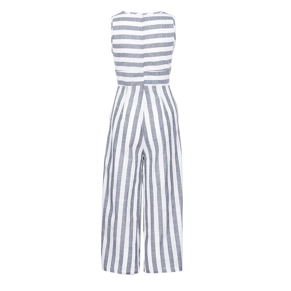 991cd6d34eb7 Amazon.com  B2keevin Women Casual Clubwear Wide Leg Pants Sleeveless  Striped Jumpsuit Outfit  Clothing
