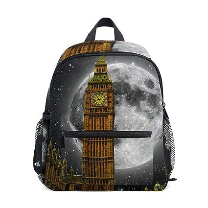 FAJRO Big Ben London Moon Back Pattern - Mochila Escolar para niña