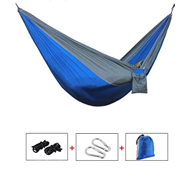 Yingee Camping Hammock, Light Nylon Cloth Parachute Multifunctional Light Double Outdoor Camping Hammock, Sleeping Bag, Camping Camping, Beach, Pier, Garden 2 x Hanger (Blue)