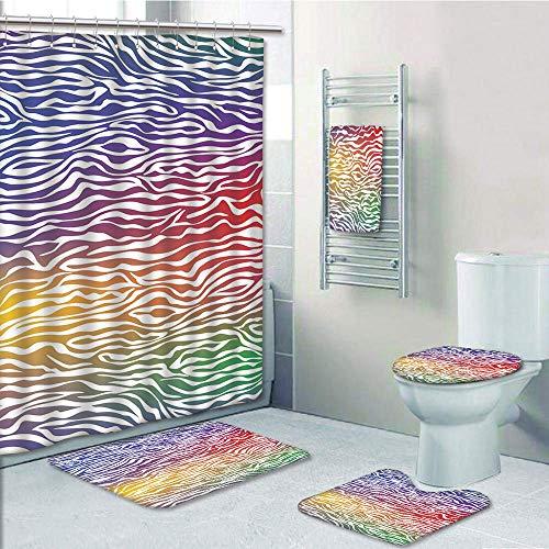 (Bathroom 5 Piece Set Shower Curtain 3D Print Customized,Zebra Print,Abstract Zebra Skin Pattern Geometric Horizontal Lines Stripes Illustration Decorative,Purple Red Yellow,Graph Customiza)