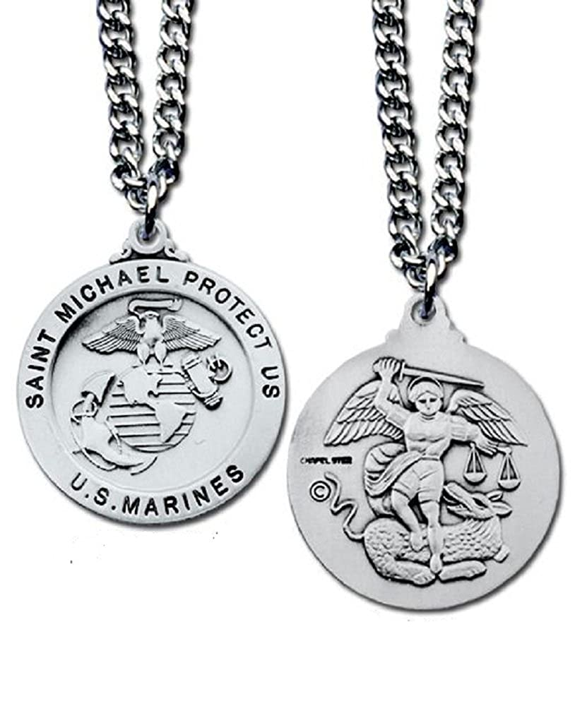 US Marines Military Silver Plated Necklace Saint Michael Protect Us In Gift Box