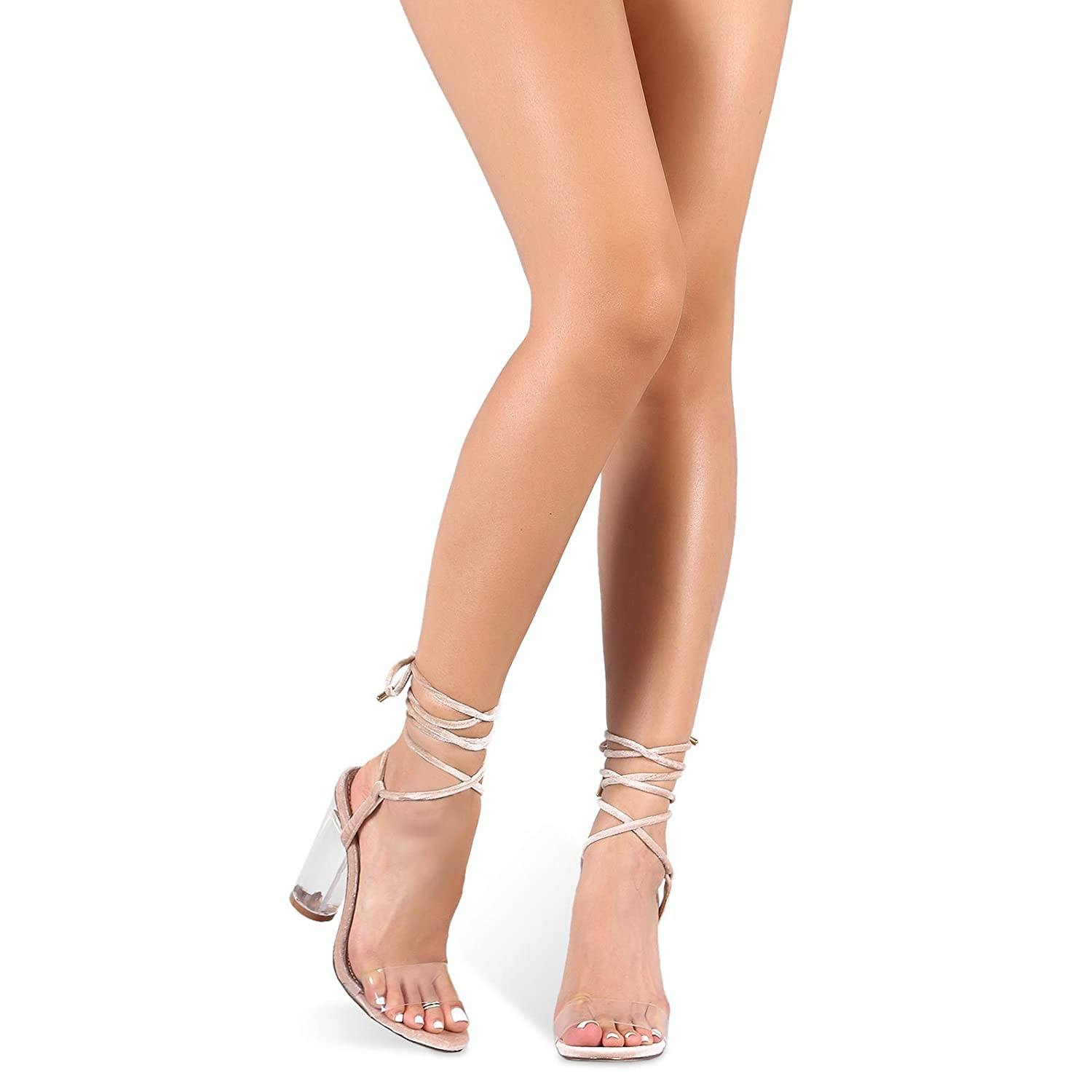 b826e52f7a2 Cape robbin strappy lace up perspex lucite clear transparent open peep toe  heels nude beige heeled