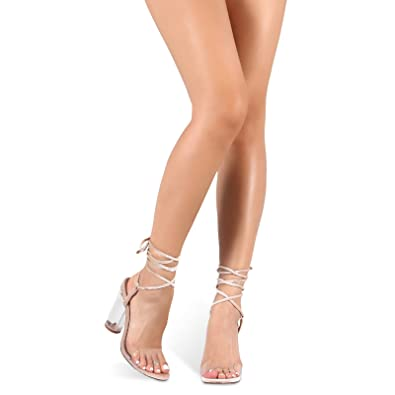 71bda9d8e5f CAPE ROBBIN Strappy Lace Up Perspex Lucite Clear Transparent Open Peep Toe  Heels