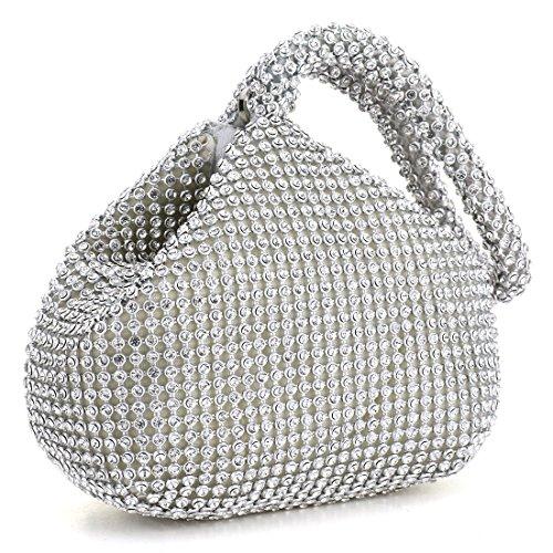 Wedding Rhinestones Party Women Silver Triangle Evening for Prom Clutch Handbag Design UNYU Purse n61qOCOw