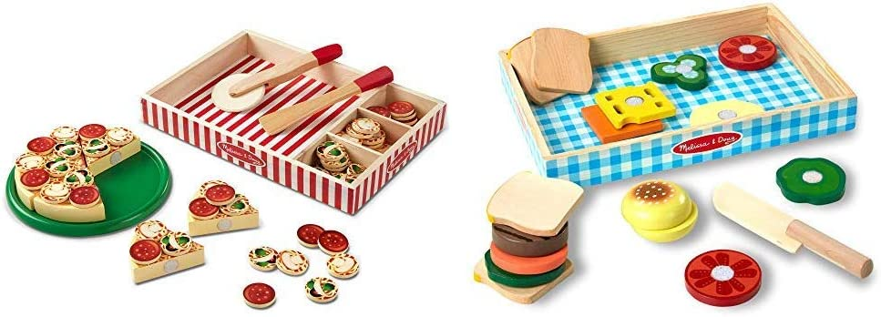 Melissa & Doug Pizza Party Wooden Play Food (Pretend Play Pizza Set, 54+ Pieces, Best for 3, 4, and 5 Year Olds) & Sandwich-Making Set (Wooden Play Food, Best for 3, 4, and 5 Year Olds)