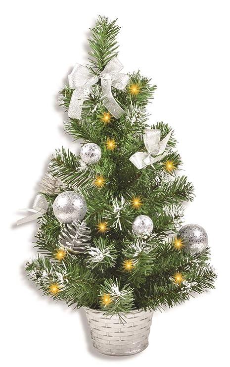 Foto Weihnachtsbaum.Riffelmacher Geschmuckter Weihnachtsbaum Beleuchtet 50cm 20258 Silber Weihnachtsbaum Mit Lichterkette Schleifen Christbaumkugeln