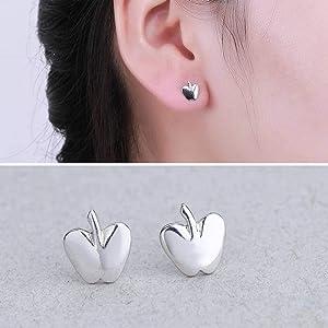 S925 Sterling Silver Stud Earrings - Apple Fashion Stud Earrings, WOZUIMEI, Photo Color,