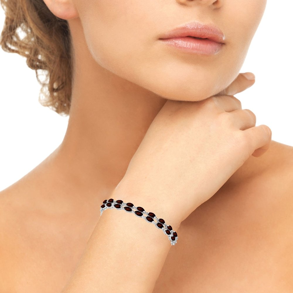 Sterling Silver Garnet & White Topaz Marquise-Cut Two Row Tennis Style Adjustable Bracelet for Women Teens Girls by GemStar USA (Image #3)
