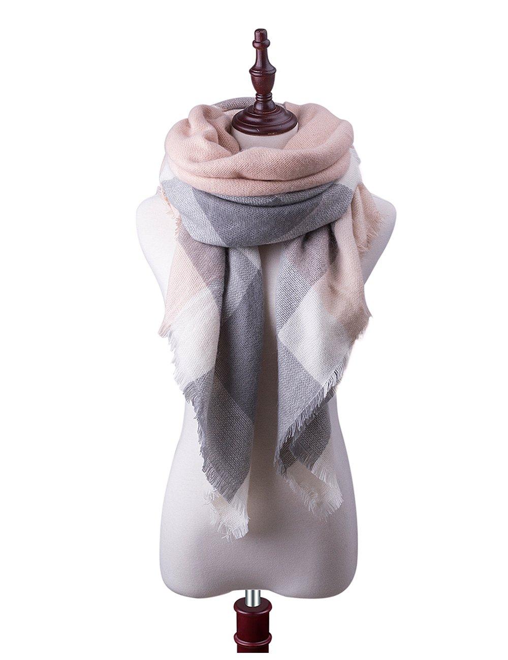 Womens Big Square Scarf Multi-Color Plaid Blanket Shawl Long Tartan Shawl (Pink)