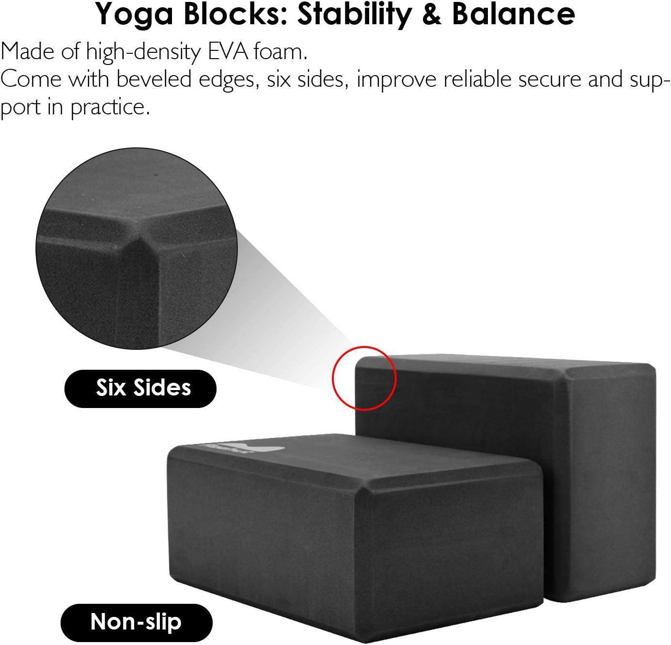 Correa Yoga para Estiramiento Bloque de Espuma EVA de Alta Densidad para Apoyar y Profundizar Las Posturas y Correa para Yoga 2.4m REEHUT Set de Bloques de Yoga 2pcs
