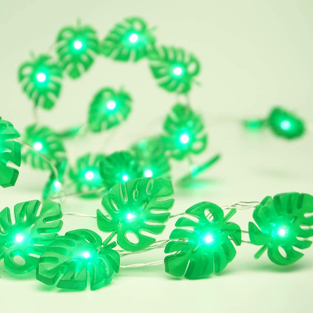 Battery powered leaf string lights