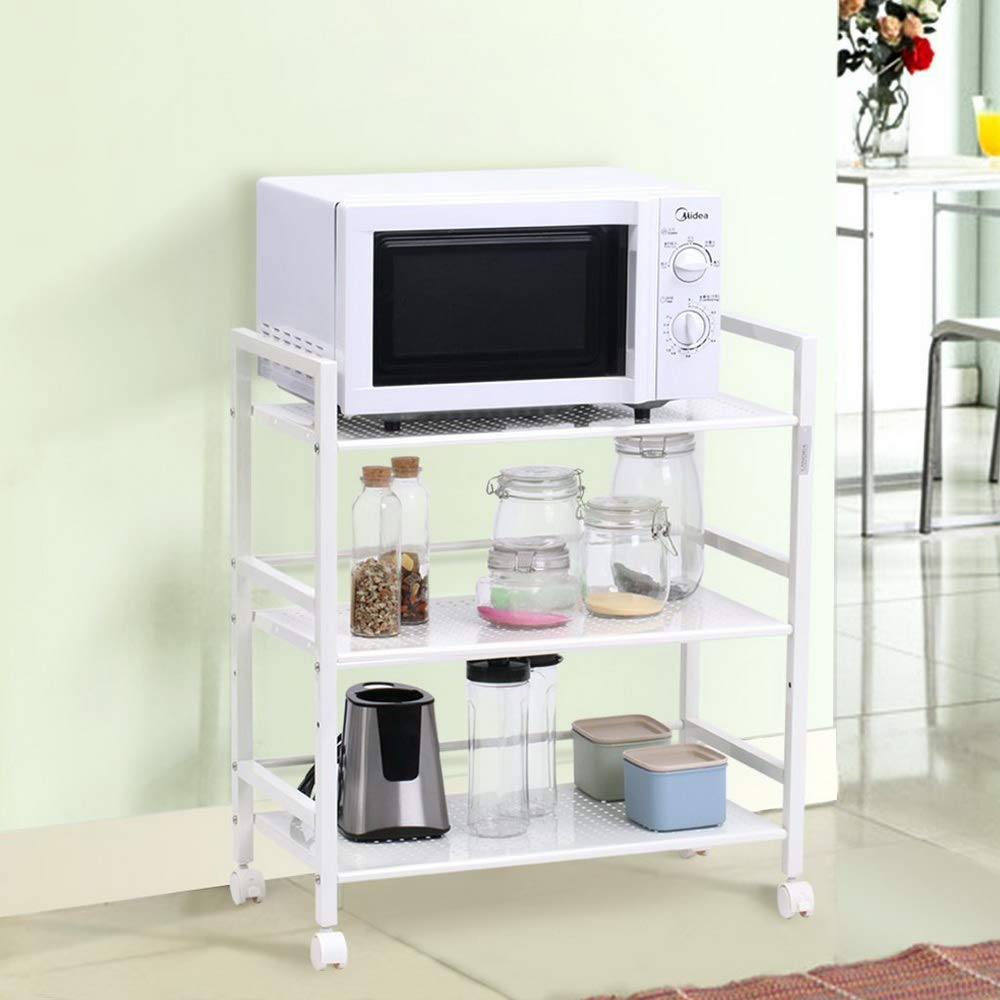 SSLine 3 Shelf Metal Rolling Kitchen Storage Cart Organizer, Microwave Oven Stand Cart on Wheels Mobile Utility Cart Baker Rack Shelving Unit - White