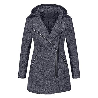 AMUSTER Damen Übergangs Jacke Wollmantel Trenchcoat Winter Reißverschluss  Jacke Slim Fit Revers Outwear Frauen Warme Dünne ae0574a4d1