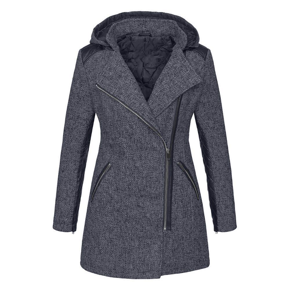Overcoat for Women,Cuekondy Winter Warm Leather Patchwork Long Coat Jacket Outwear Lapel Zipper Coat