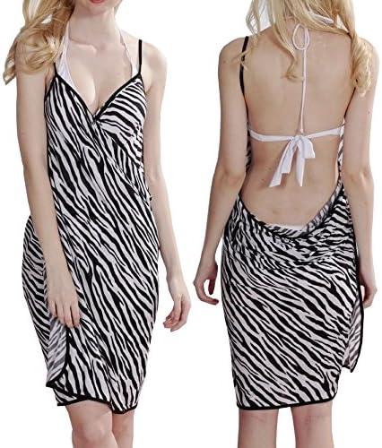 Modelo de la cebra vestido de la playa de las señoras en blanco y ...