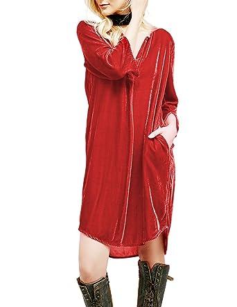 7d9b892de HaoDuoYi Womens Sexy Deep V Neck Velvet Three Quarter Shirt  Dress(S,Burgundy)