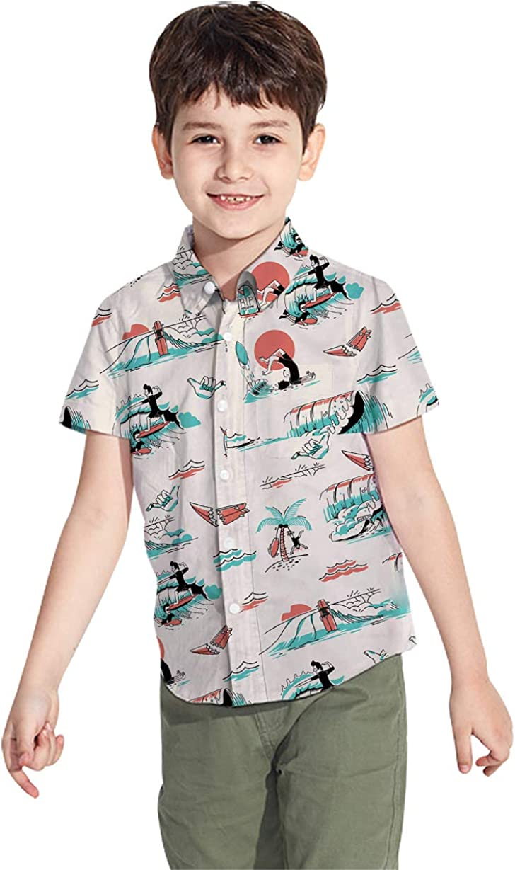 2-8T Boys Button Down Hawaiian Shirts Aloha Tropical Short Sleeve Holiday Beach Party Gifts Kids Dress Clothes
