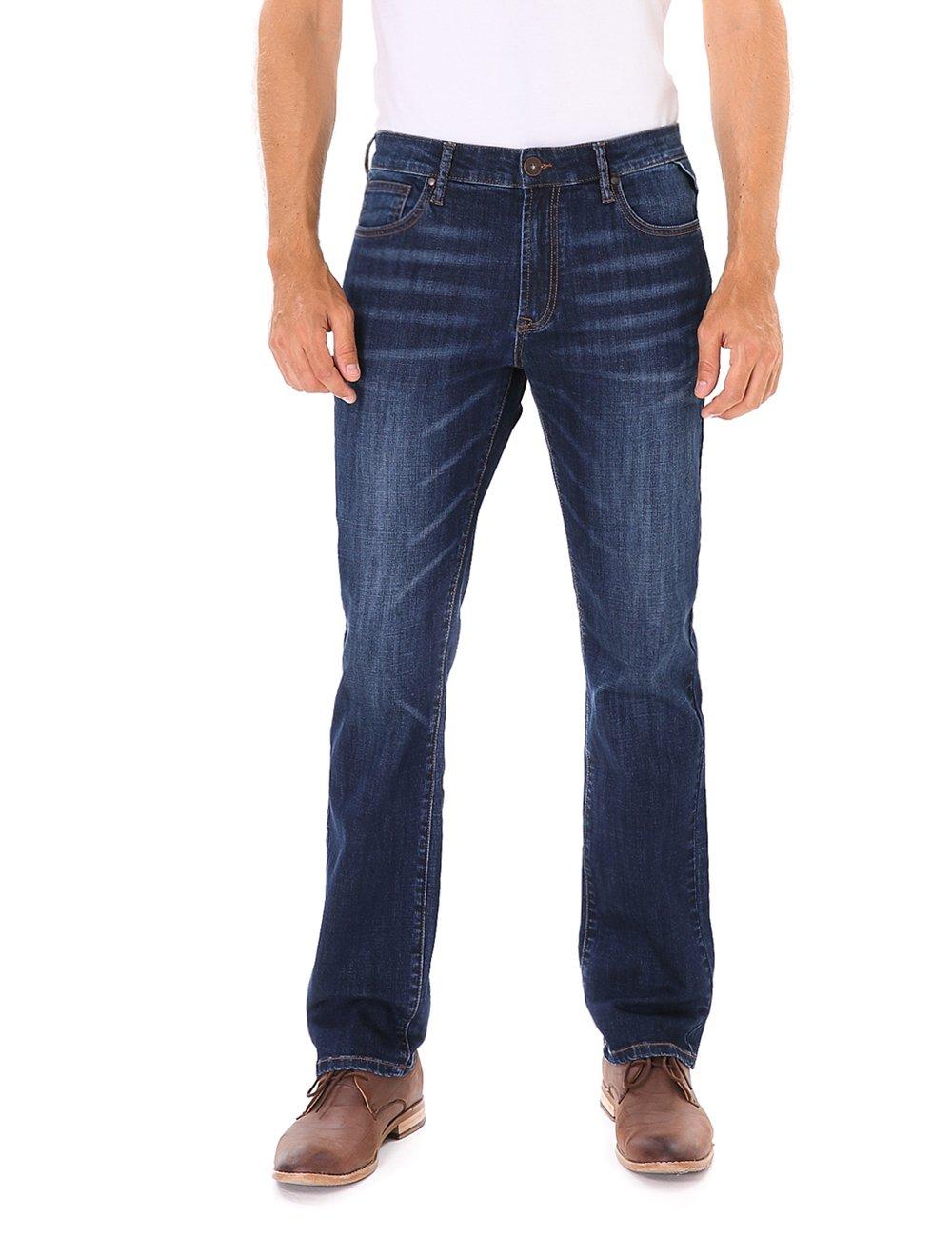 Indigo alpha Men's Stretch Regular-Fit Straight Leg Jean Summer,Blue,40W x 32L