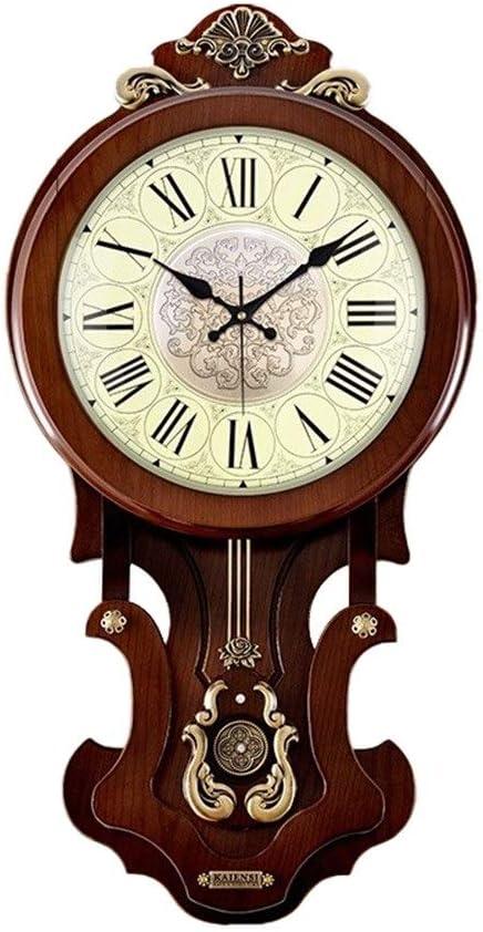 壁掛け時計 掛け時計 サイレントクォーツ時計ヨーロッパ振り子時計ホームリビングルーム電波動き壁時計雰囲気クリエイティブシンプルな中国ファッション時計 時計 壁掛け (Color : P wood color metal dial, Size : 16inches)