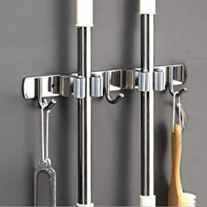 Saxhorn Broom Mop Holder, Stainless Steel Wall Mounted Storage Organizer Tool for Kitchen, Garage, Garden, Landry, Bathroom Organization and storage(2 Racks 3 Hooks)