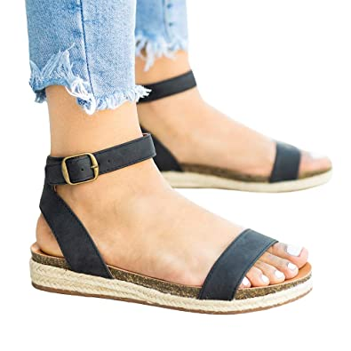 124a0fc3046 FISACE Womens Summer Comfort Espadrille Open Toe Donddi Flat Sandal One  Band Ankle Strap Dressy Shoes