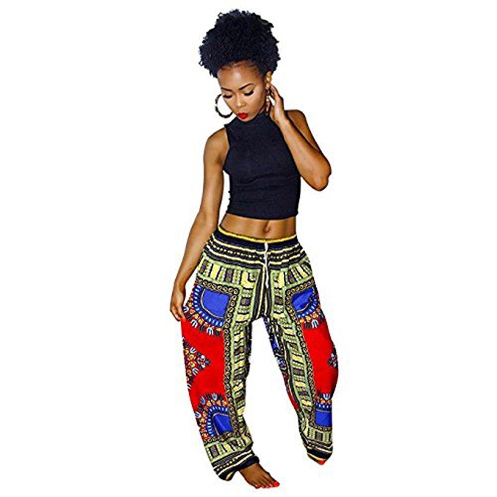 Womens African Dashiki Bohemian Drawstring Waist Trousers Wide Leg Lounge Pants Medium Red Blue