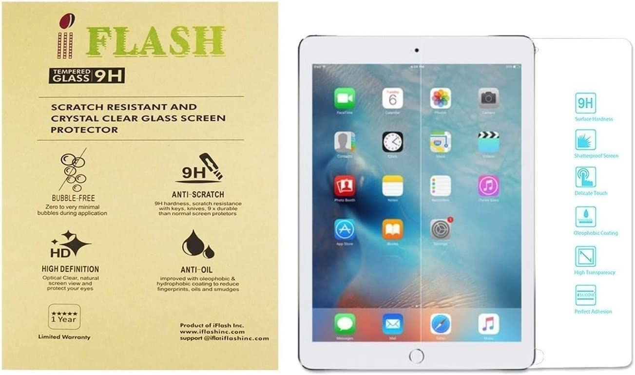 iFlash® 2 Pack of Premium Tempered Glass Screen Protector For Apple iPad Air / iPad Air 2 with Retina Display (iPad 5th / 6th Generation) - Protect Your Screen from Scratches and Bubble Free - Maximize Your Resale Value - 99.99% Clarity and Touchscreen Accuracy (2Pack, Retail Package)