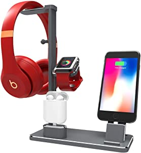 DHOUEA Wireless Charger Stand, 6 in 1 Cell Phone Headphone Holder Replacement for Apple Watch Charging Dock Station for Phone Xs Max XS XR X iPad iWatch Series 5 4 3 2 1 AirPods, Black