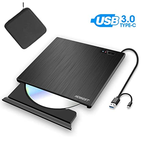 Amazon.com: External CD DVD Drive, Hobest Portable USB-C ...