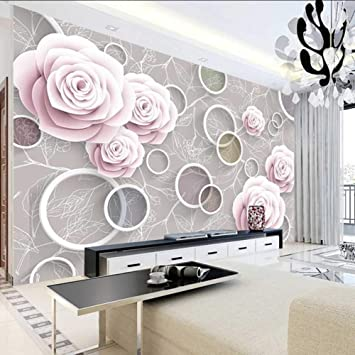 Amazon Com Dalxsh Photo 3d Wallpaper Custom Modern Wall Mura 3d Stereo Rose Annulus Leaf Abstract Art Tv Mural Wallpapers Living Room 150x120cm Furniture Decor