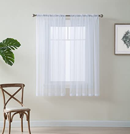 Amazon.com: HLC.ME White Window Curtain Sheer Voile Panels for