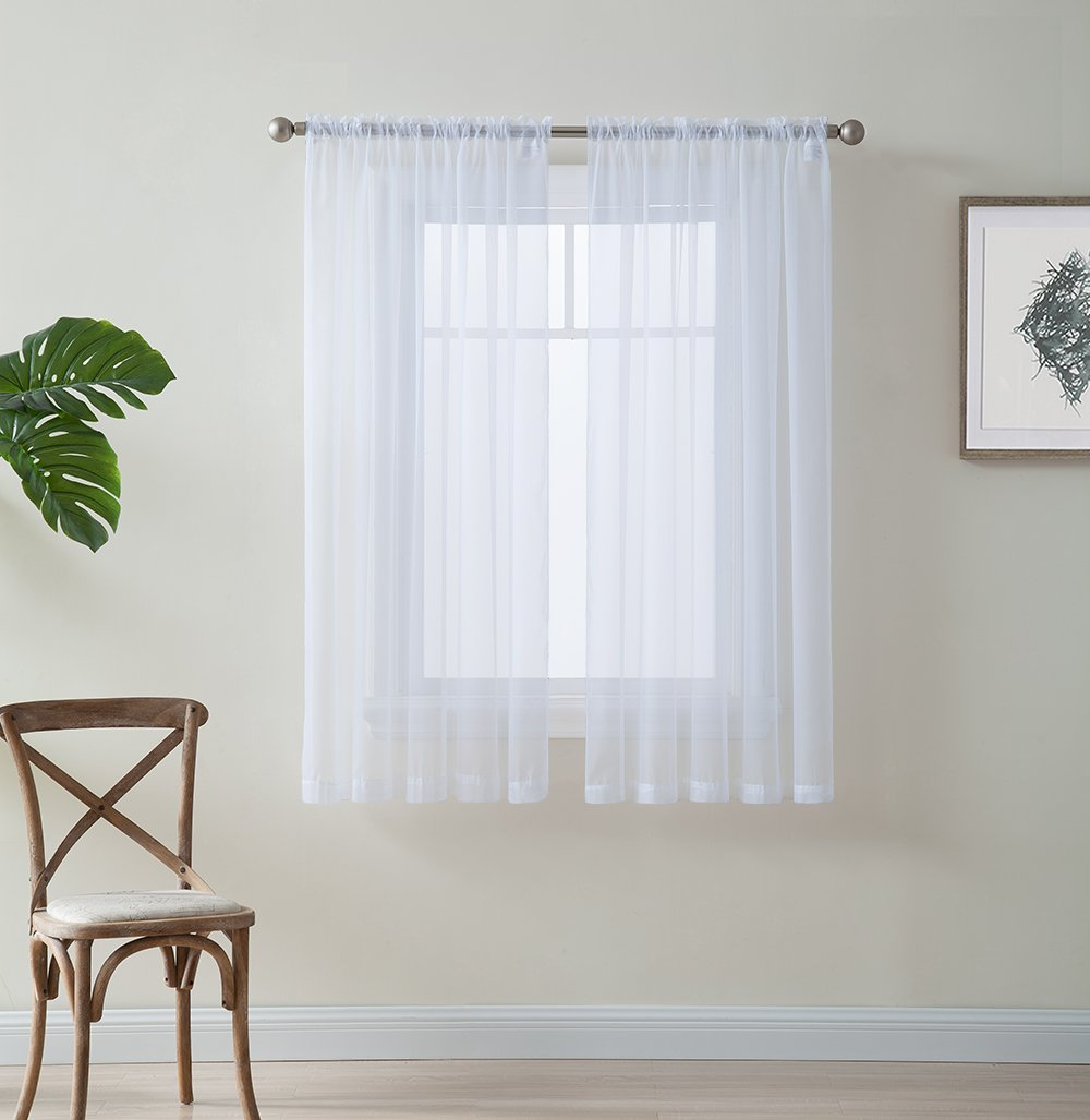 "HLC.ME White 54"" inch x 45"" inch Window Curtain Sheer Voile Panels for Kids Room, Kitchen, Living Room & Bedroom, Set of 2"