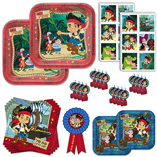 Jake and the Neverland Pirates Dinnerware & Favors Birthday Party Bundle - 16 Guests - Party Kit Includes Plates, Napkins, Blowouts, Stickers, Guest of Honor Ribbon ()