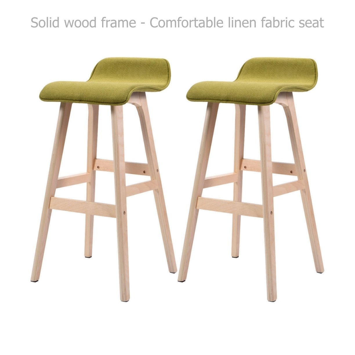 Modern Classic Bentwood Bar Stools Solid Wood Frame Unique Linen Fabrics Seat Counter Height Pub Kitchen Dining Chair - Set of 2 Green #1529