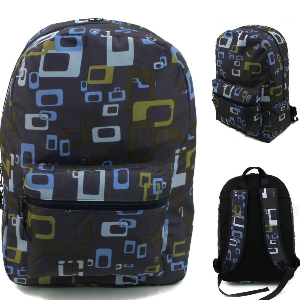 17'' Wholesale Padded Geometric Backpack - Case of 24