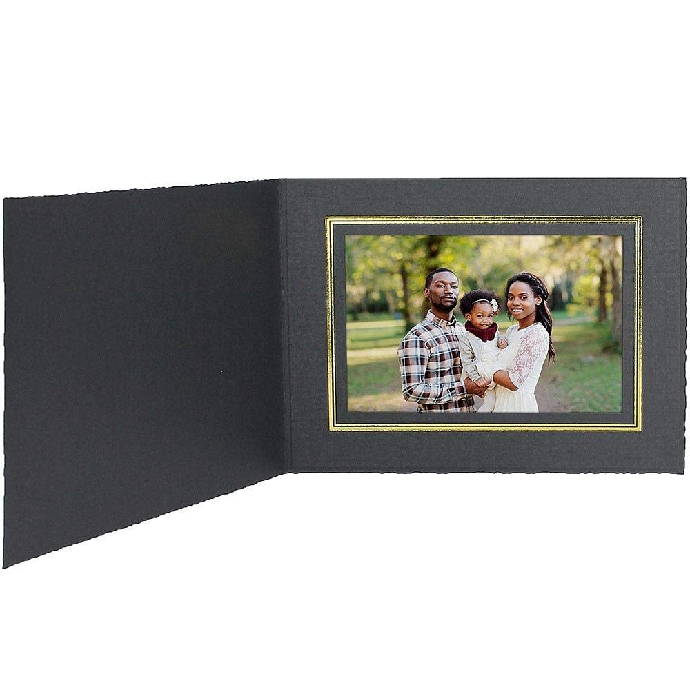Black Cardstock Paper Portrait Folder 10x8 Frame w/Gold foil Border Sold in 25s - Landscape - 8x10