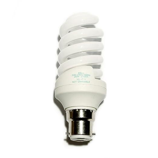 Bell/Kos/Pro/LLy 20w = 100w Power Saving Warm White/827/2700K Lamp Quick  Start BC/B22/Bayonet Cap 1200 Lumens Long Life Lamp